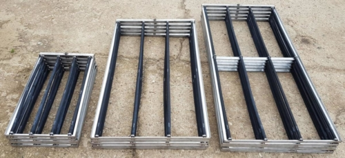 Stainless steel frames with diffusers in various sizes.